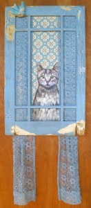 Sheba Standing Guard 18x45 Collage on wood panel