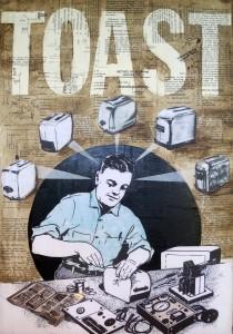 Toaster Whisperer 23x30 Collage on wood panel