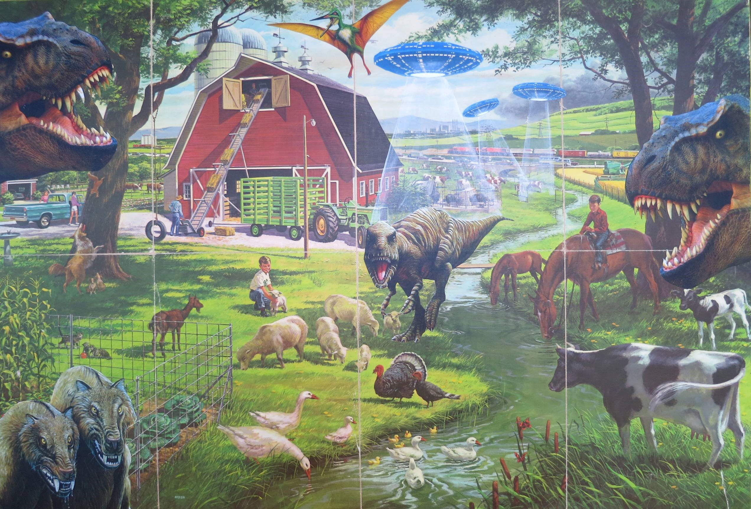 A Day on the Farm 36x24 Collage on wood panel